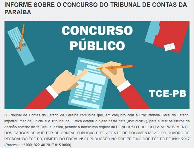 Concurso do TCE/PB continua!!!