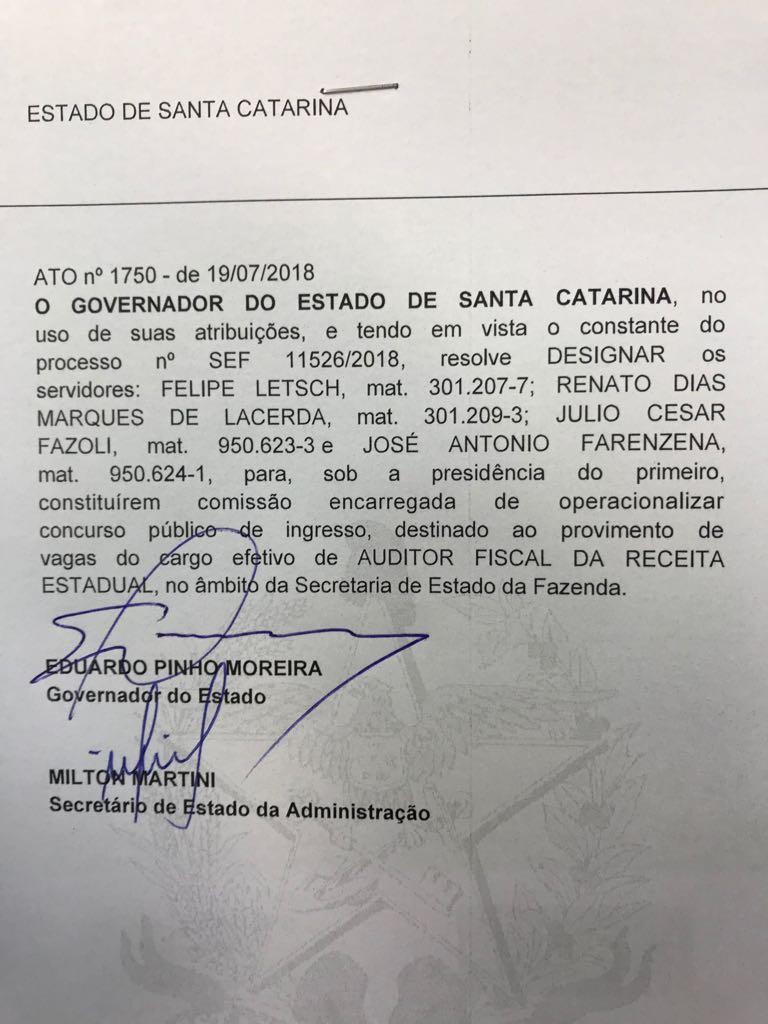 Governador assina autorização concurso para SEFAZ SC!